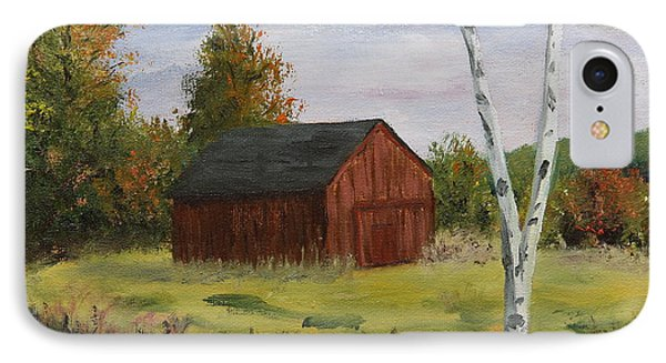 Barn With Lone Birch IPhone Case by Alan Mager
