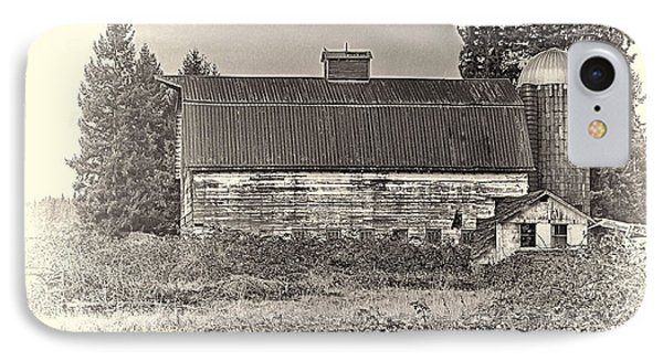 Barn With Silo IPhone Case by Ron Roberts