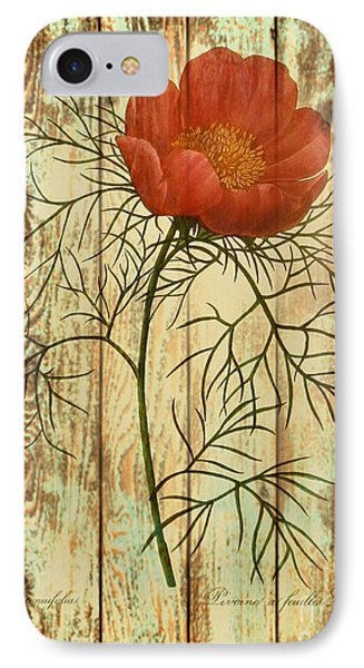 Barn Wood Texture Poppy Flower Botanical Art Phone Case by Cranberry Sky