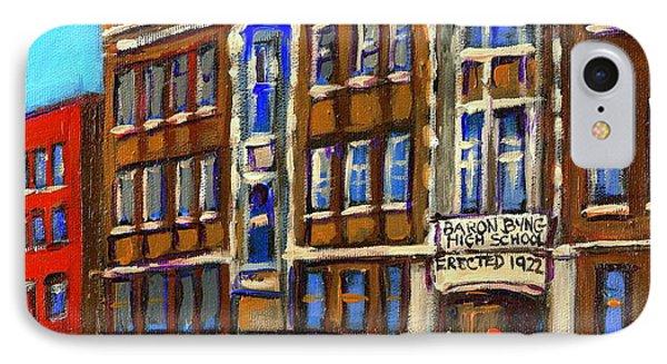 Baron Byng High School 4251 St. Urbain Street Plateau Montreal City  Scene Carole Spandau Montreal A IPhone Case by Carole Spandau