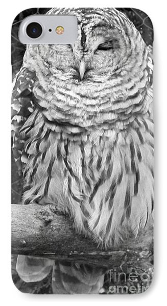 Barred Owl In Black And White Phone Case by John Telfer