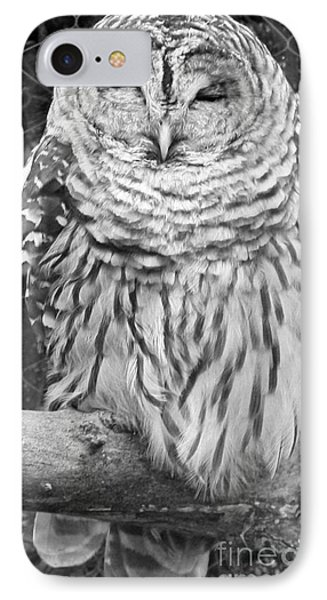IPhone Case featuring the photograph Barred Owl In Black And White by John Telfer