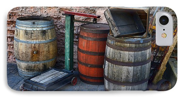 Barrels Crates Freight Scale Dolly IPhone Case by Ken Smith