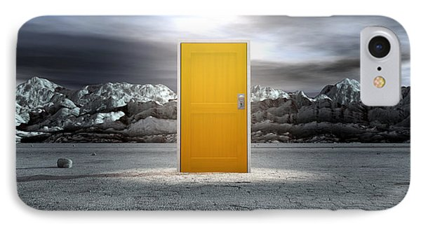 Barren Lanscape With Closed Yellow Door IPhone Case