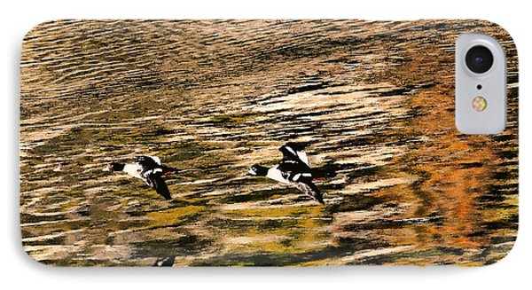 Barrow's Goldeneyes Over The Ocean IPhone Case