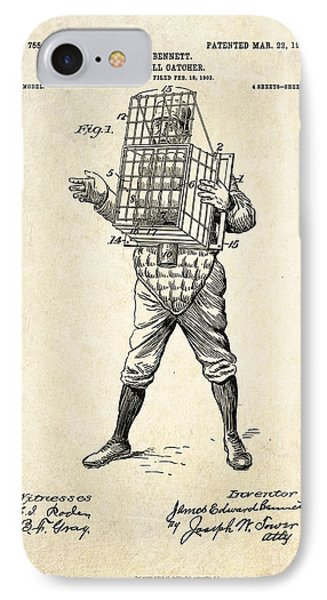 1904 Base Ball Catcher Patent Art IPhone Case by Gary Bodnar