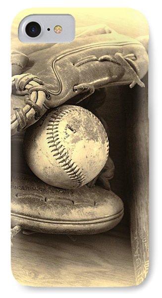 Baseball And Baseball Bat IPhone Case by Dan Sproul