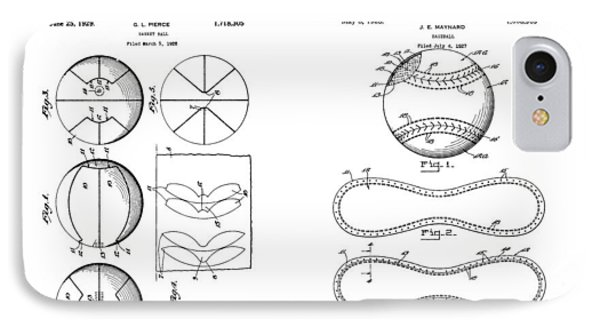 Baseball And Basketball Patent Drawing IPhone Case