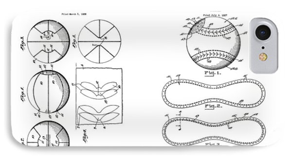 Baseball Basketball Patent Illustration IPhone Case