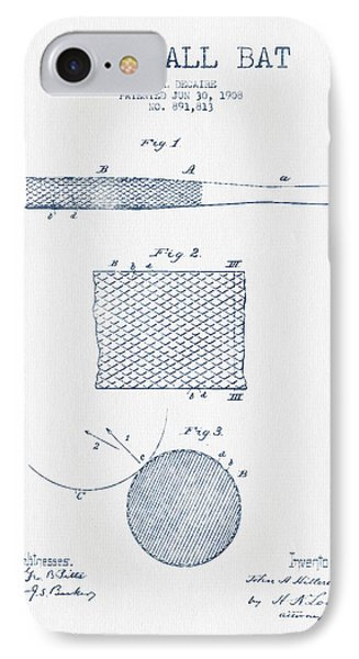 Baseball Bat Patent Drawing From 1904 - Blue Ink IPhone Case by Aged Pixel