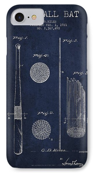 Baseball Bat Patent Drawing From 1921 IPhone Case