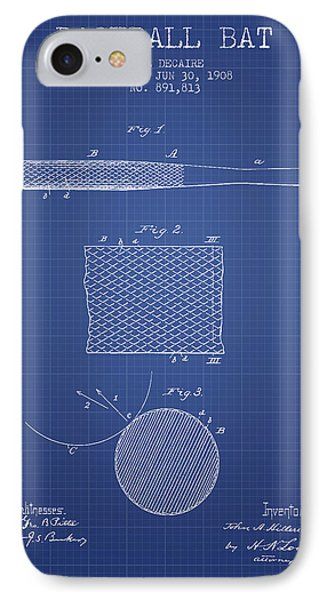 Baseball Bat Patent From 1908 - Blueprint IPhone Case by Aged Pixel