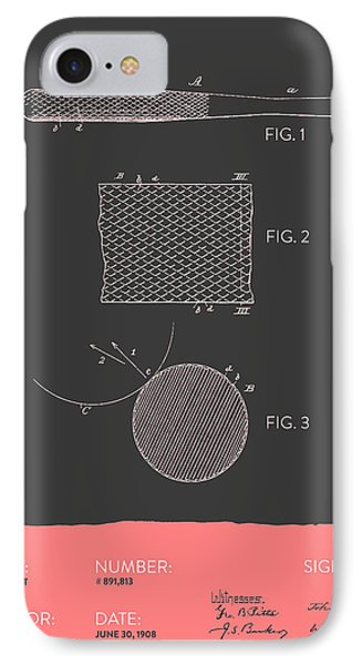 Baseball Bat Patent From 1908 - Gray Salmon IPhone Case by Aged Pixel