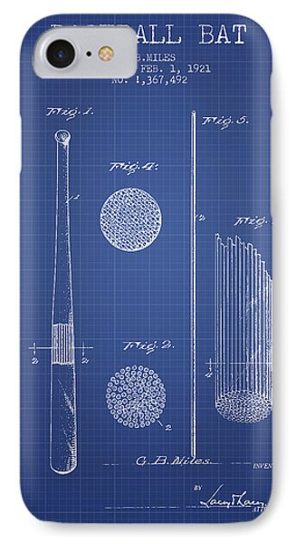 Baseball Bat Patent From 1921 - Blueprint IPhone Case by Aged Pixel