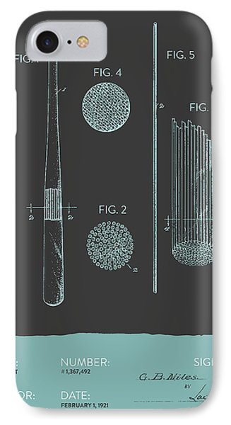 Baseball Bat Patent From 1921 - Gray Blue IPhone Case by Aged Pixel