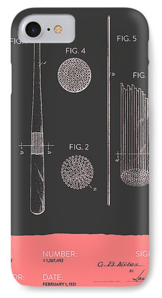 Baseball Bat Patent From 1921 - Gray Salmon IPhone Case by Aged Pixel