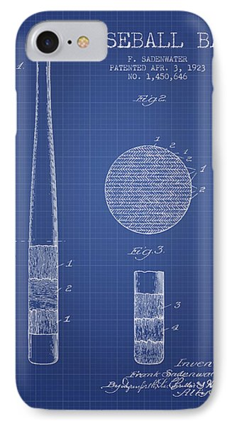 Baseball Bat Patent From 1923 - Blueprint IPhone Case by Aged Pixel