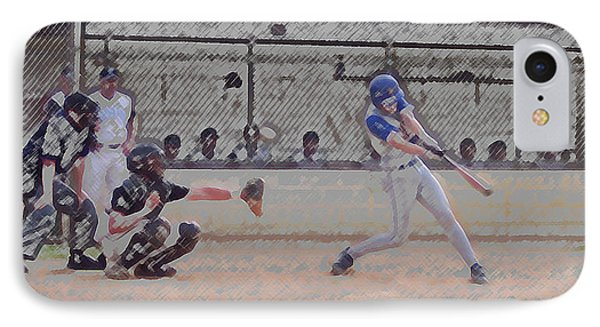 Baseball Batter Contact Digital Art Phone Case by Thomas Woolworth