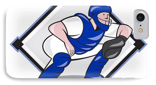 Baseball Catcher Catching Side Diamond Cartoon Phone Case by Aloysius Patrimonio