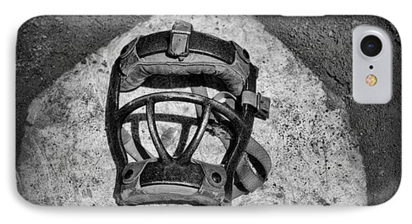 Baseball iPhone 7 Case - Baseball Catchers Mask Vintage In Black And White by Paul Ward