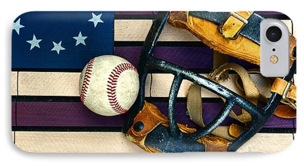 Baseball Catchers Mask Vintage On American Flag Phone Case by Paul Ward
