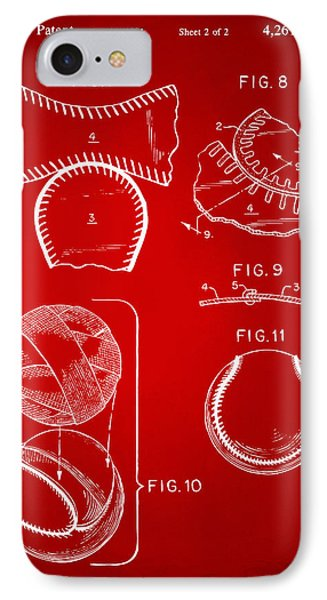 Baseball Construction Patent 2 - Red IPhone Case by Nikki Marie Smith
