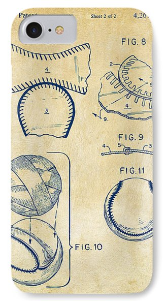 Baseball Construction Patent 2 - Vintage IPhone Case by Nikki Marie Smith