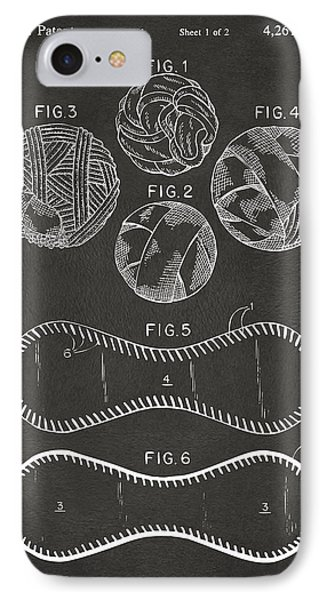 Baseball Construction Patent - Gray IPhone Case by Nikki Marie Smith