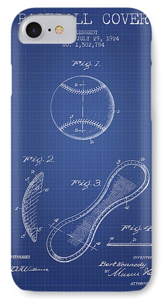 Baseball Cover Patent From 1924 - Blueprint IPhone Case by Aged Pixel