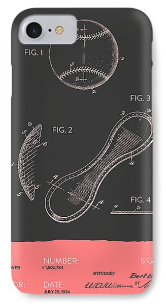 Baseball Cover Patent From 1924 - Gray Salmon IPhone Case by Aged Pixel