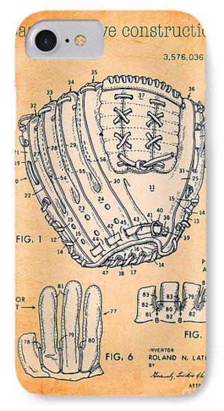Baseball Glove Construction Patent Orange - Us 3576036 A IPhone Case by Evgeni Nedelchev