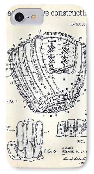 Baseball Glove Construction Patent White - Us 3576036 A IPhone Case by Evgeni Nedelchev