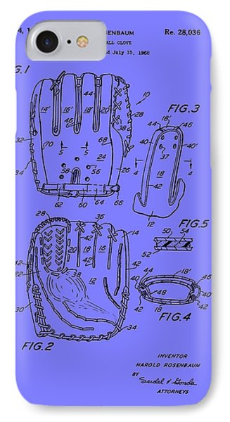 Baseball Glove Patent 1974 IPhone Case by Mountain Dreams