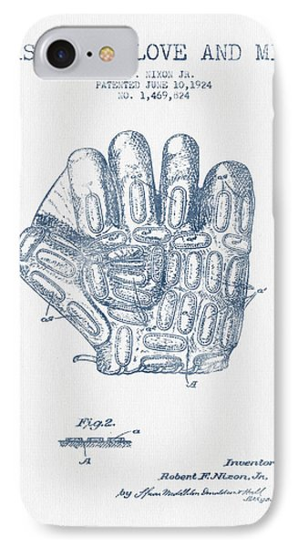 Baseball Gloves iPhone 7 Case - Baseball Glove Patent Drawing From 1924 - Blue Ink by Aged Pixel