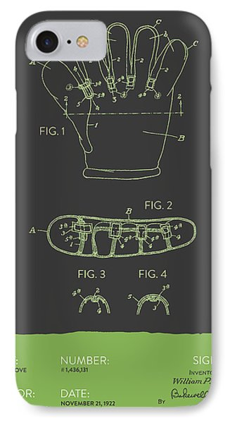Baseball Glove Patent From 1922 - Gray Green IPhone Case by Aged Pixel