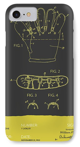 Baseball Glove Patent From 1922 - Gray Yellow IPhone Case by Aged Pixel