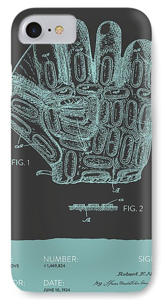 Baseball Glove Patent From 1924 - Gray Blue IPhone Case by Aged Pixel