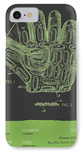 Baseball Glove Patent From 1924 - Gray Green IPhone Case by Aged Pixel