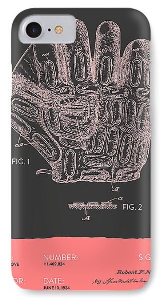 Baseball Glove Patent From 1924 - Gray Salmon IPhone Case by Aged Pixel