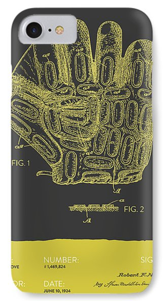 Baseball Glove Patent From 1924 - Gray Yellow IPhone Case by Aged Pixel