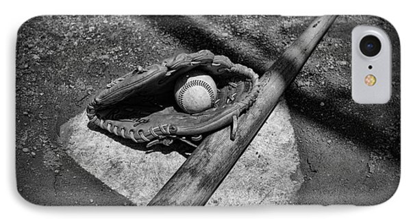 Baseball Home Plate In Black And White Phone Case by Paul Ward
