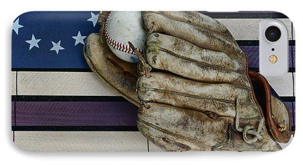 Baseball Mitt On American Flag Folk Art IPhone Case by Paul Ward