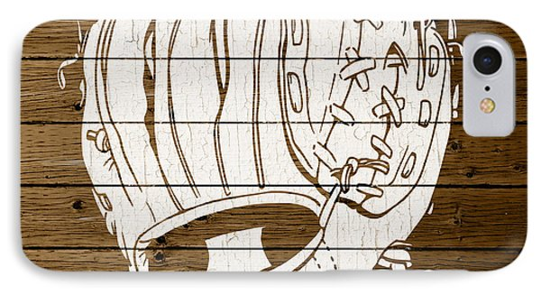 Baseball Mitt Vintage Outline White Distressed Paint On Reclaimed Wood Planks IPhone Case