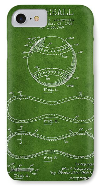 Baseball Patent Drawing From 1928 IPhone Case