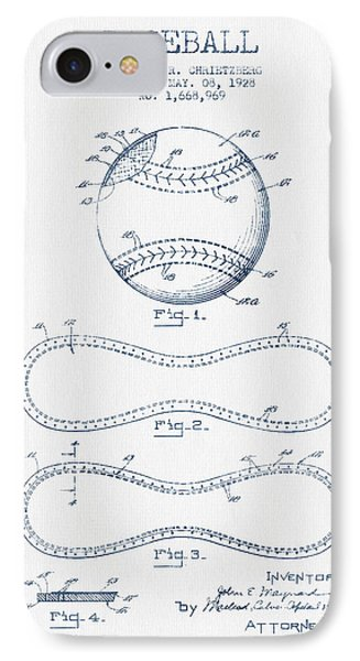 Baseball Patent Drawing From 1928 - Blue Ink IPhone Case by Aged Pixel
