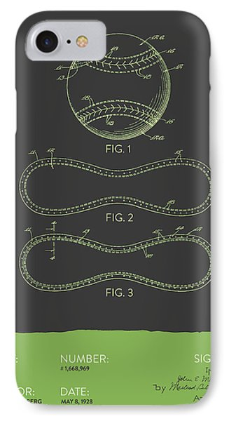 Baseball Patent From 1928 - Gray Green IPhone Case by Aged Pixel