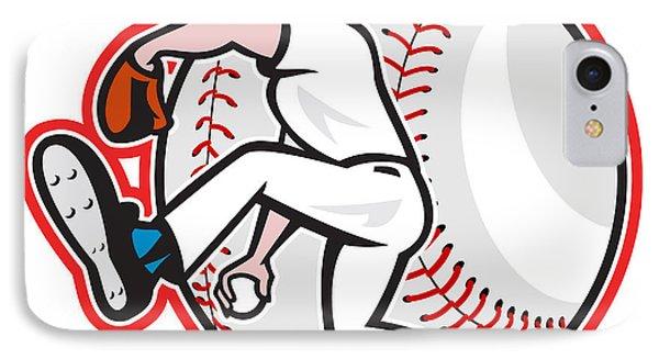 Baseball Pitcher Throw Ball Cartoon Phone Case by Aloysius Patrimonio