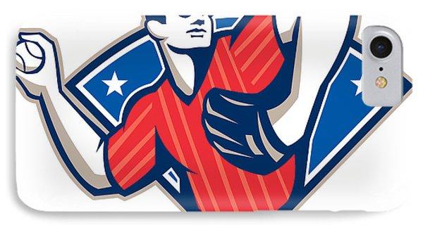 Baseball Pitcher Throwing Ball Retro Phone Case by Aloysius Patrimonio