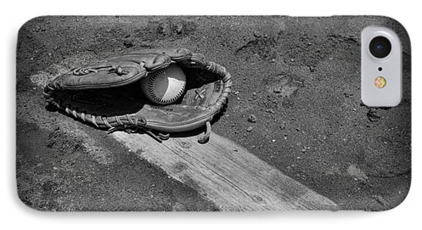 Baseball Pitchers Mound In Black And White Phone Case by Paul Ward