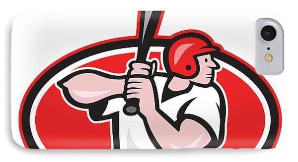 Baseball Player Batting Cartoon Oval Phone Case by Aloysius Patrimonio